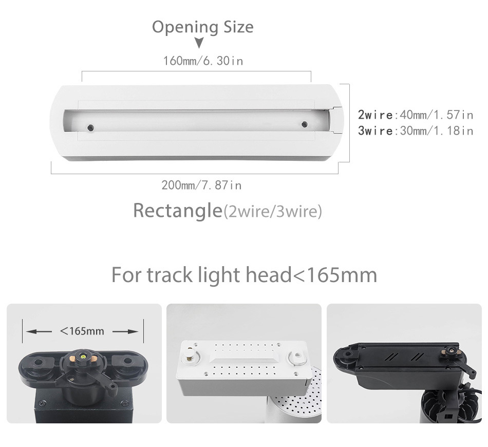 New Track Lights Box Rail Lighting Connector Accessories Track lamp Ceiling Box  2 Wire 3 Wire Fixtures LED Spot light Fitting (1)