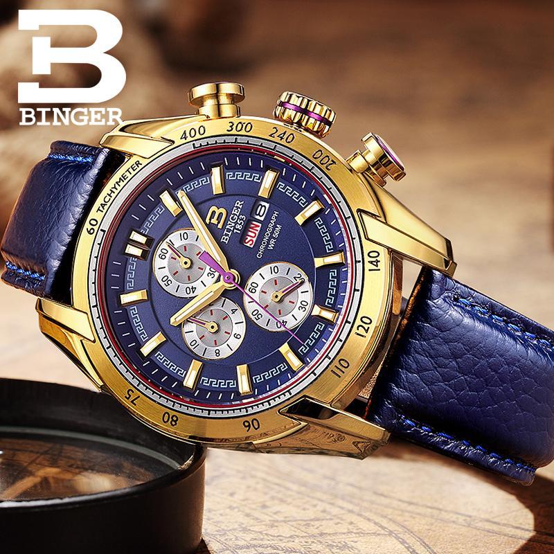 ญี่ปุ่นสวิสเซอร์แลนด์นาฬิกาผู้ชายแบรนด์หรูนาฬิกาข้อมือ BINGER Quartz ชายนาฬิกา Chronograph Diver glowwatch B1163 7-ใน นาฬิกาควอตซ์ จาก นาฬิกาข้อมือ บน   3