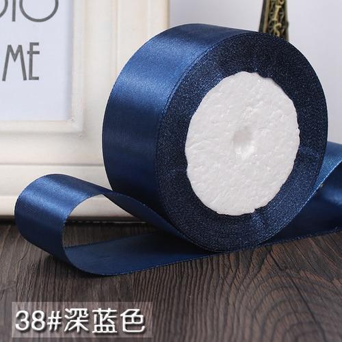 25 ярдов/рулон 6 мм, 10 мм, 15 мм, 20 мм, 25 мм, 40 мм, 50 мм, шелковые атласные ленты для рукоделия, швейная лента ручной работы, материалы для рукоделия, подарочная упаковка - Цвет: Dark blue