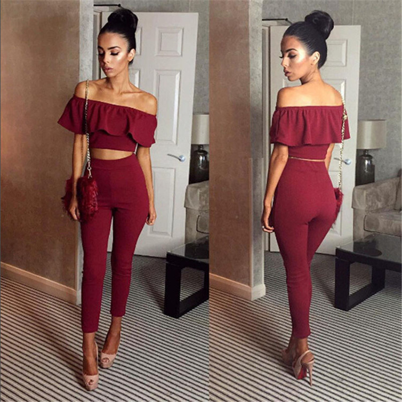 Sexy Womens Two Piece Sets 2018 Summer crop tops and Pants Sleeveless Ruffles Tops High Waist Pencil Pants Set Outfits Set