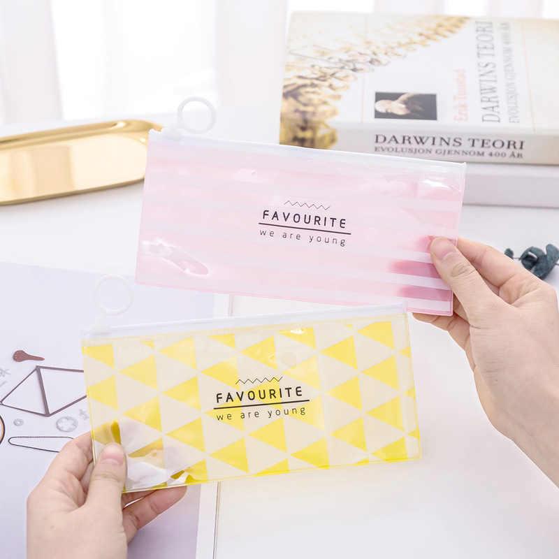 かわいいグリッドストライプ Pvc 防水鉛筆バッグかわいい着色ペンケース透明のための文具