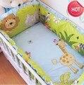 Promoción! 6 unids patrón de león ropa de cama cuna set para bebés de dibujos animados ( bumpers + hojas + almohada cubre )