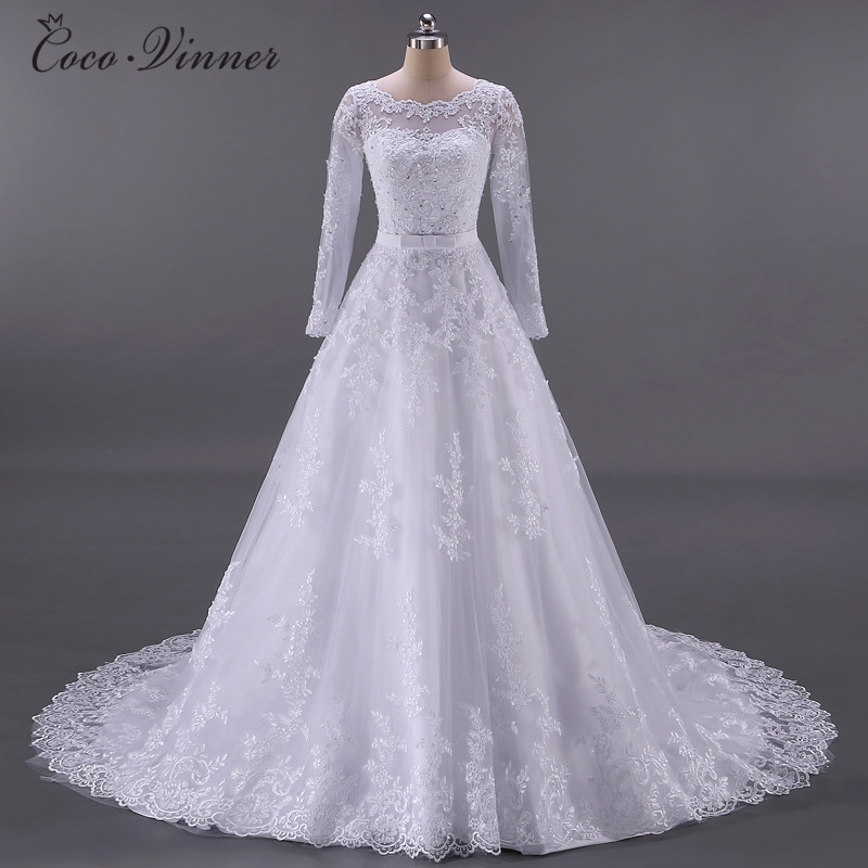 Vestidos De Noiva Ball Gown Wedding Dress 2019 Long Sleeves Wedding Dresses Pearls Tulle Robe Ee Mariage Casamento W0009