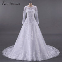 Vestidos De Noiva Ball Gown Wedding Dress 2019 Long Sleeves Pearls Tulle Robe Ee Mariage Casamento Wedding Gown china W0009