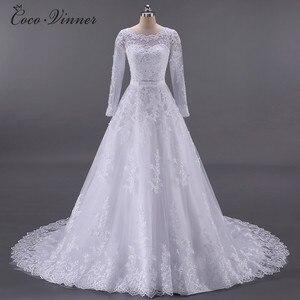 Image 2 - Vestidos De Noiva الكرة ثوب الزفاف 2020 طويلة الأكمام اللؤلؤ تول رداء Ee Mariage Casamento ثوب زفاف الصين W0009