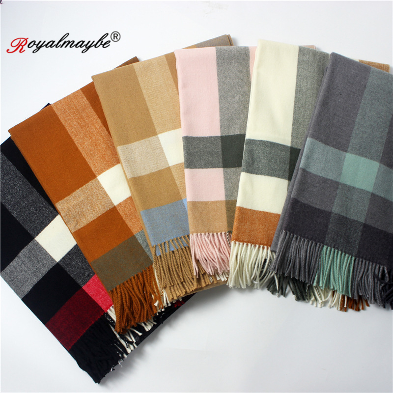 713bb029f462b shawl scarf for women 2018 winter warm tartan cashmere thickened big  scarves black wool red plaid women scarf pashmina wrap