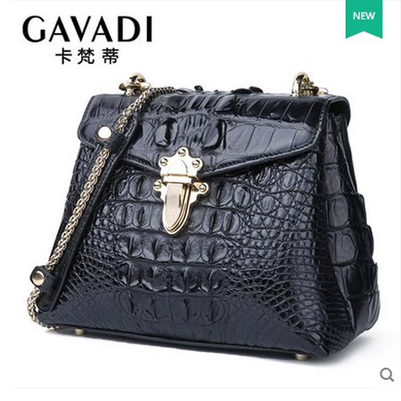 kafandi new alligator skin women bag lady's bag chain bag women single shoulder bag yuanyu real snake skin women bag new decorative pattern women chain bag fashion inclined single shoulder women bag