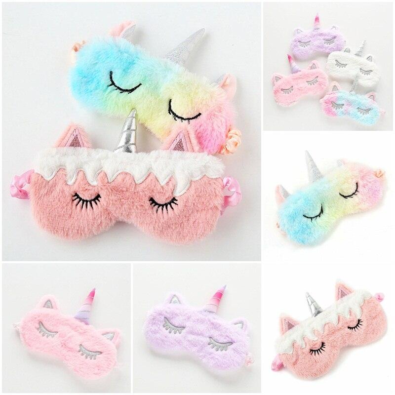 Colors Unicorn Eye Sleep Mask Cartoon Eye Patch For Sleeping Eye Mask Plush Eye Cover Massager For Party Gifts Beauty Tools
