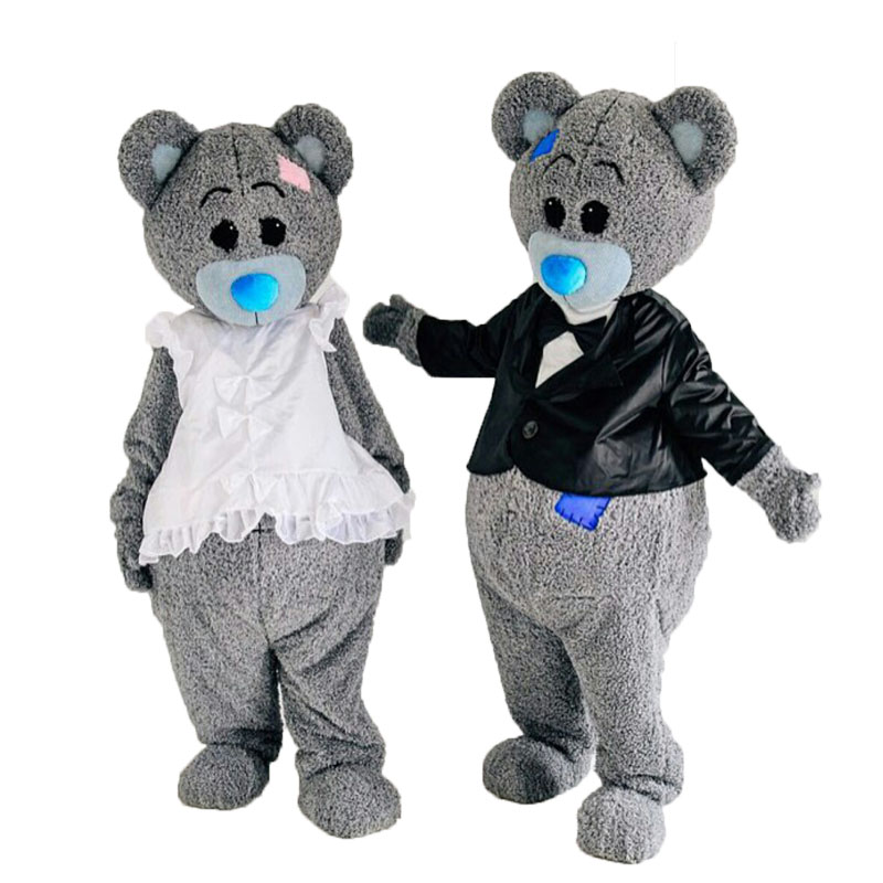 2018 Nouveau Gris Ours Mascotte Costume Halloween Cosplay & Drôle ours Costume Adulte Taille