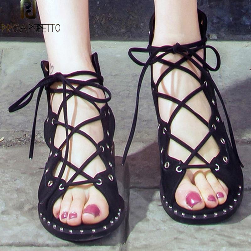 все цены на Prova Perfetto New Gladiator Sandals Women Shoe Laces Cross-tied Low Heels Woman Sandals Peep Toe Rivet Narrow Band Summer Shoe