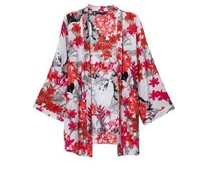 Kimono Cardigan 2014 Fashion Women Summer Spring Cardigan European Style Blouse Floral Print Blusas De Seda