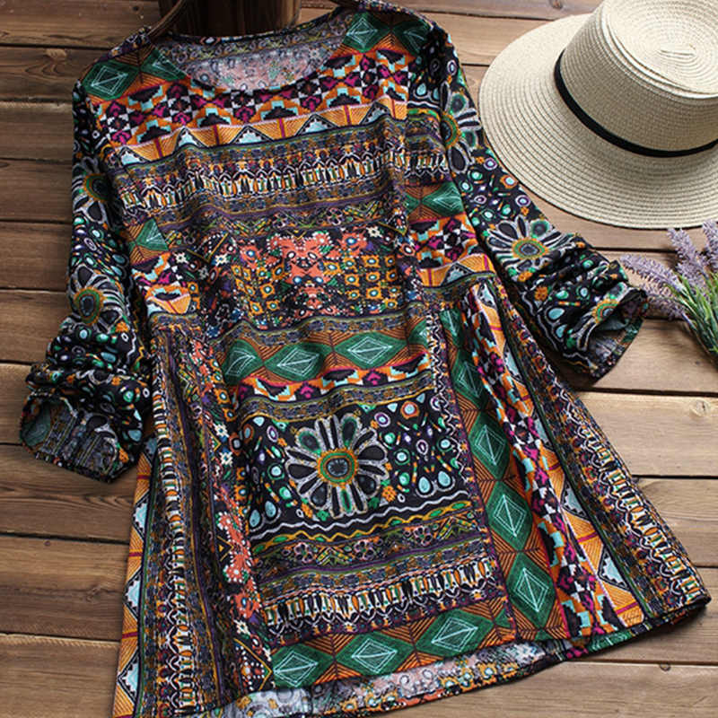 6aeaf823ef6 ZANZEA 2019 Spring Retro Ethnic Printed Cotton Linen Pleated Party Long  Shirt Vestido Women O Neck