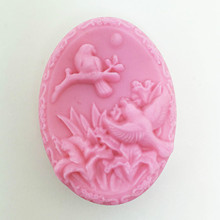 Birds Flower Oval Soap Making Mold Silicone Baking Cake Decorating Mould Hand Bath Molds