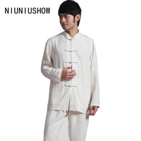 Beige New Spring Traditional Chinese Style Men S Linen Shirt Long Sleeve Tang Suit With Pocket