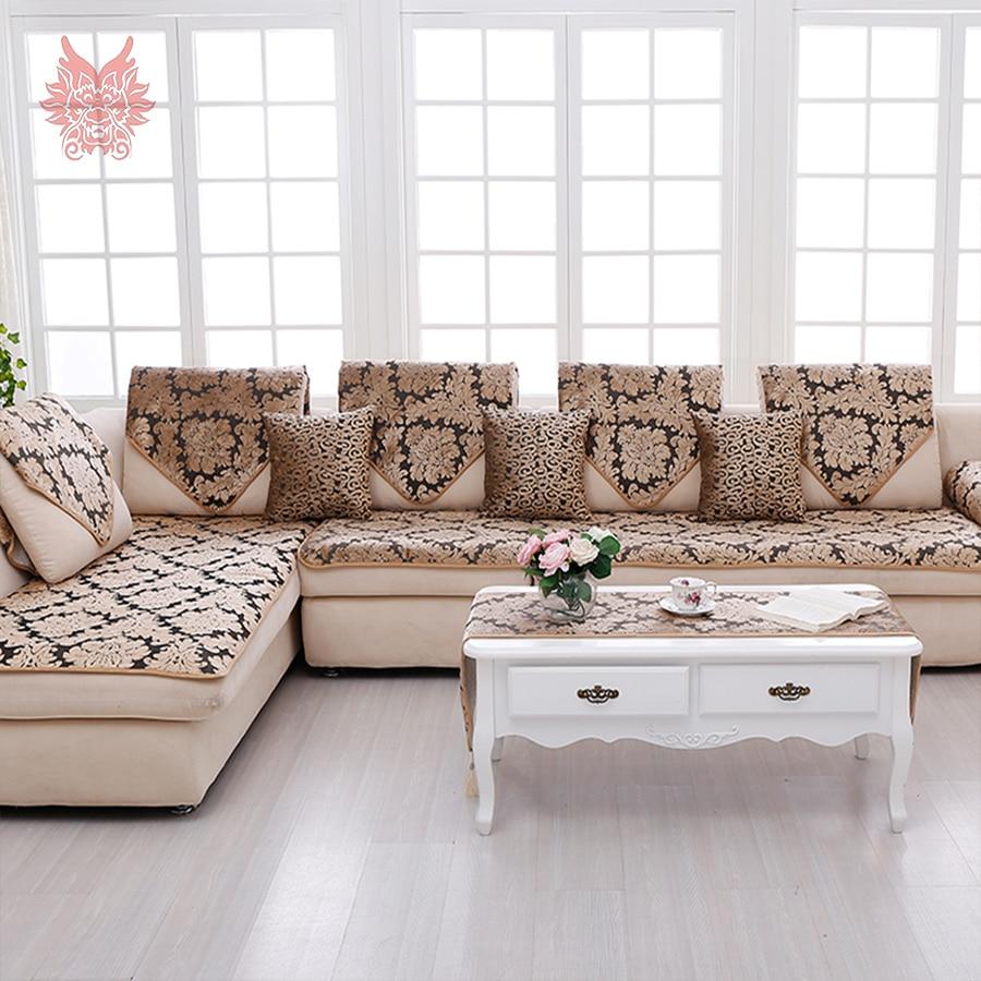 Europe Black Gold Floral Jacquard Terry Cloth Sofa Cover Plush