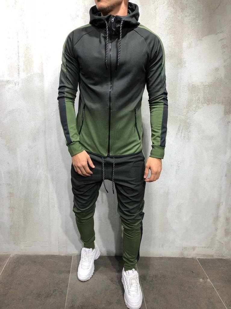 ZOGAA Men's Sportswear Two Piece Set Mens Casual Hooded Sports Wear Men's Tracksuit Training Sweat Suit Men Track Suit M-3XL