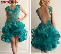2019 Short Cocktail Dresses Lace Appliques Handmade Beads Floral Sexy Tulle Backless Prom Party Dress Formal Vestidos De Soiree