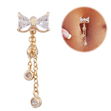 Fashion Bowknot belly button rings Bar stainless steel Surgical Piercing Sexy Body Jewelry for women CZ navel piercing цена и фото