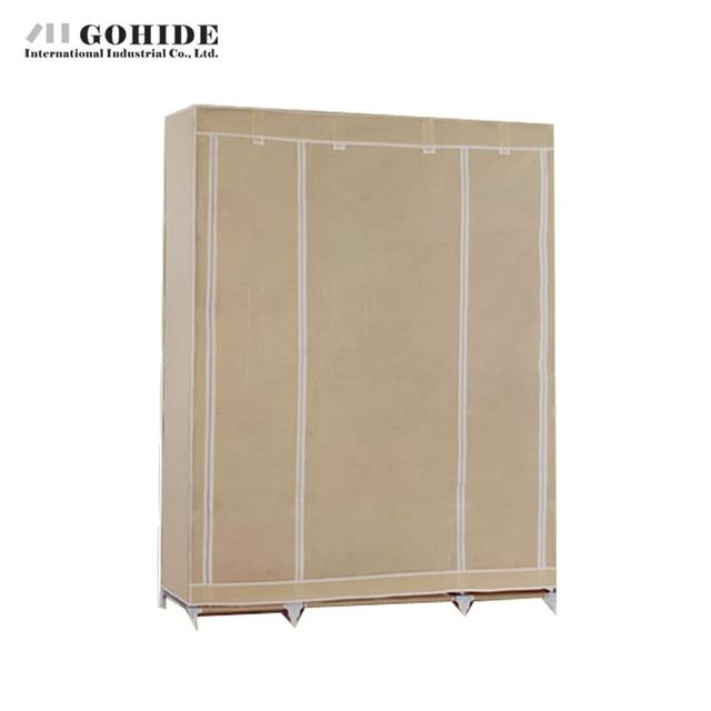 Gohide Non-Woven Wardrobe Combination Wardrobe Double Folding Wardrobe Assembling Home Furnishing Decoration Coat Hangers Locker