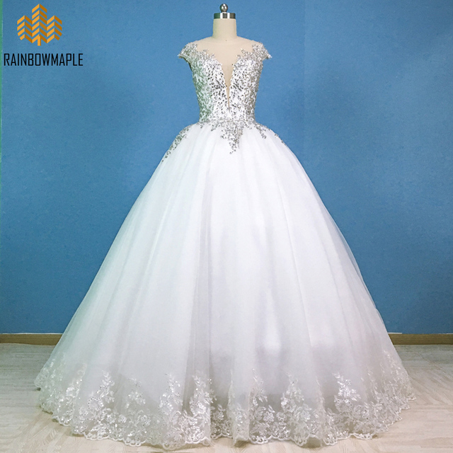 Gorgeous Crystal Lace Ball Gown Wedding Dresses Princess Style Sheer ...