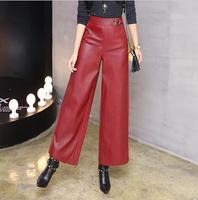 2019 Autumn Women's Leather Pants Women Female red black Faux Leather Trousers Woman Fashion loose PU Wide leg pants w778