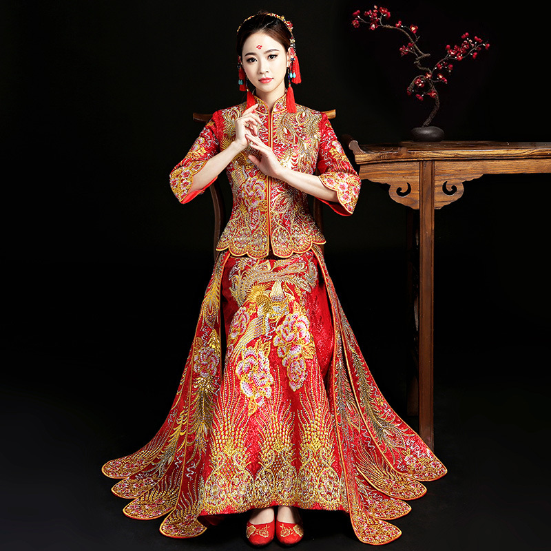 Chinese Bride Wedding Dresses Gown Lady Ancient Bling Qipao Phoenix Handmade Embroidery Rhinestone Cheongsam Tang Suit Clothing
