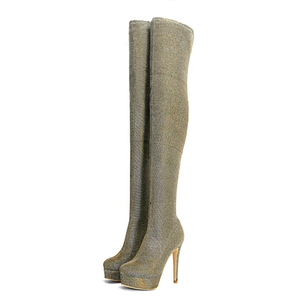 Fashion Biling Long Boots Sexy Autumn Round Toe High Heel Boots Women Platform Thin Heels Shoes 14cm Customzid Party Shoes уилф стаут биология в 3 томах