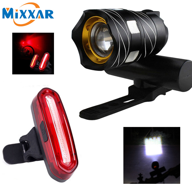 Bike Bicycle Front & Tail Light 16000LM 3000mAh Zoomable Torch Headlight USB Rechargeable Built-in Battery Three Modes XML T6