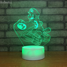 Super Mario Cartoon 3D LED Night Light 7 Colors Changing Desk Table Lamp Bedroom Lighting Fixture Home Decor Christmas Gifts hot cartoon figure frozen table lamp 7 colors changing desk lamp 3d lamp novelty led night lights led light girl baby gifts