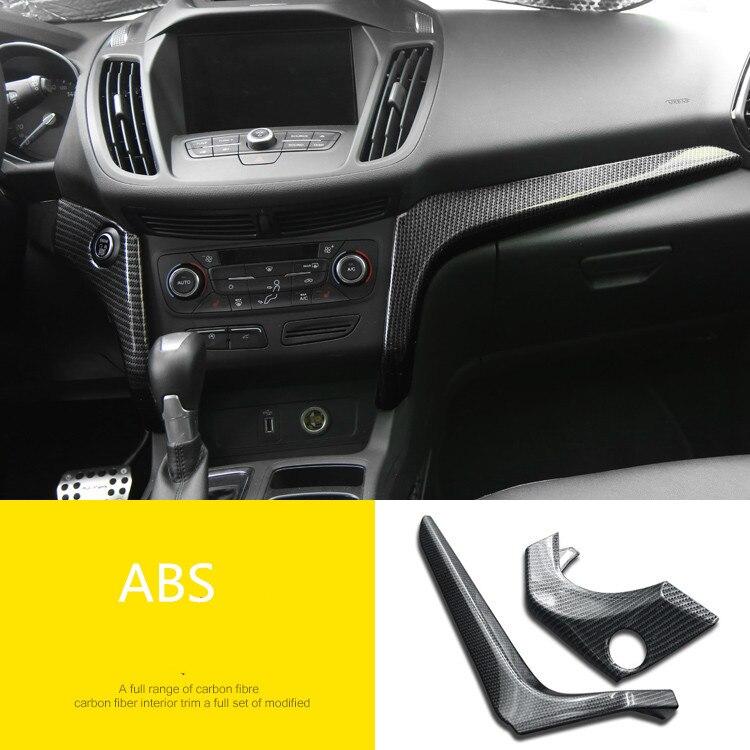 2 pcs/lot ABS fibre de carbone grain instrument panneau décoration couverture pour 2017 2018 FORD KUGA Escape voiture accessoires