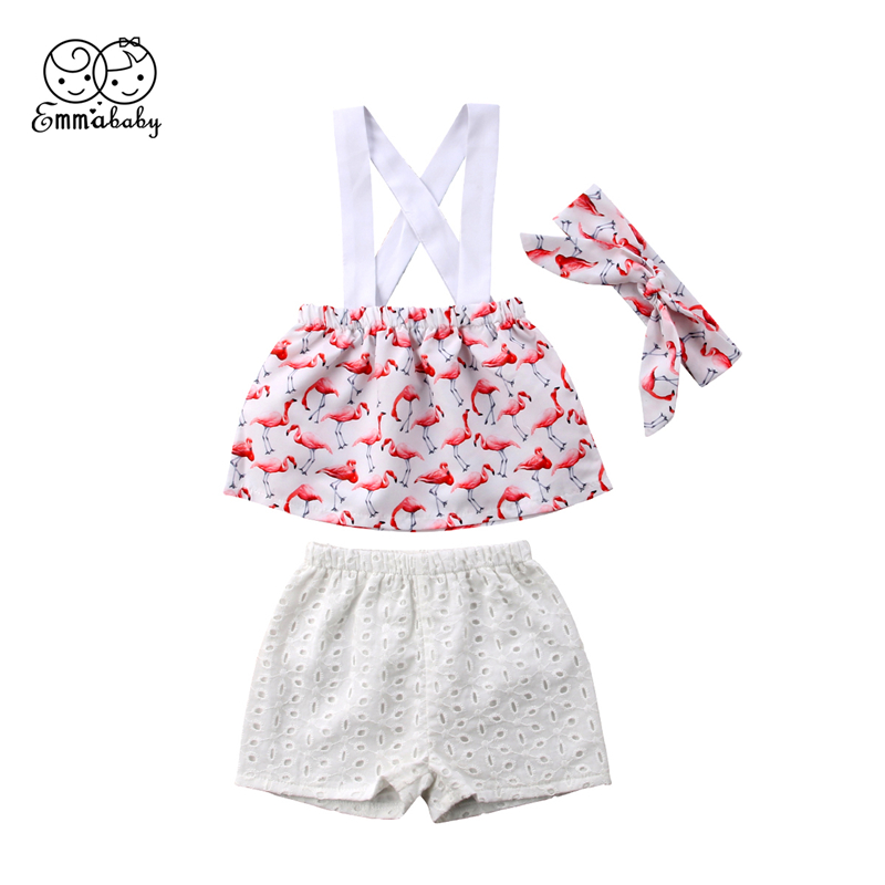 Emmababy Newborn Infant Kids Baby Girls Summer Clothes Flamingo Tops Vest T shirt+Shorts+Headband 3Pcs Set Outfits Clothing 3pcs outfit infantil girls clothes toddler baby girl plaid ruffled tops kids girls denim shorts cute headband summer outfits set
