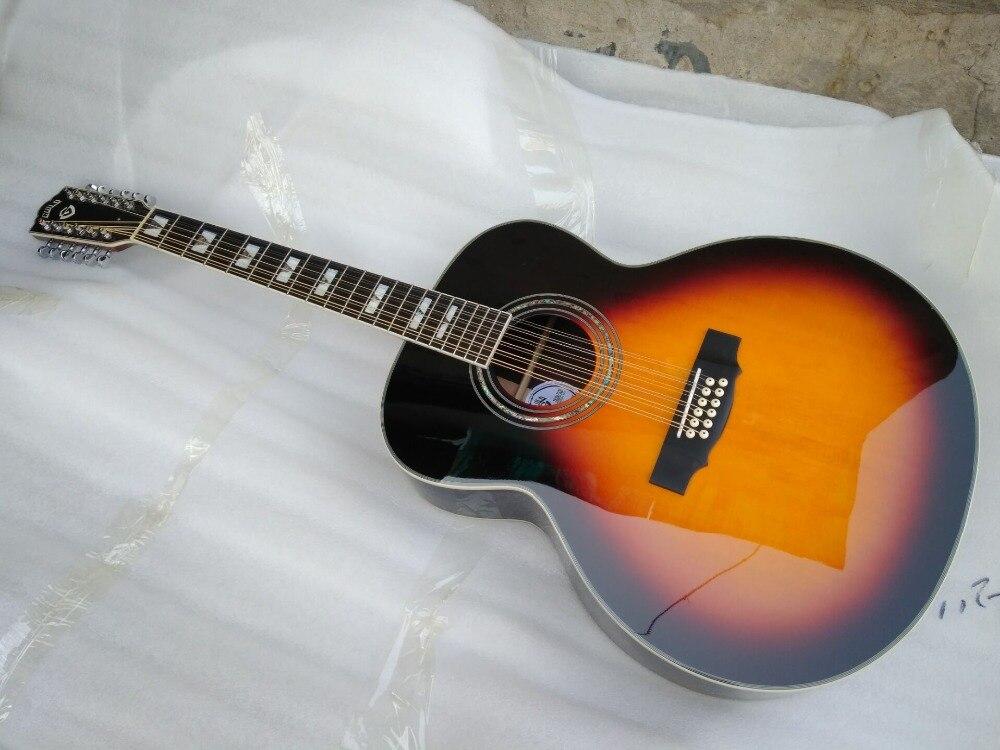 Livraison gratuite sunburst couleur 12 cordes guitare de guilde meilleure qualité solide 12 cordes guitare acoustique électrique jumbo