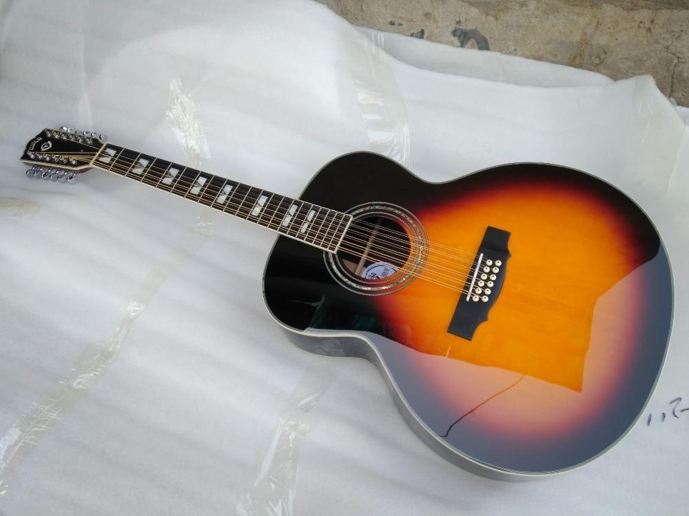 free shipping sunburst color 12 strings guild guitar best quality solid 12 string jumbo electric. Black Bedroom Furniture Sets. Home Design Ideas
