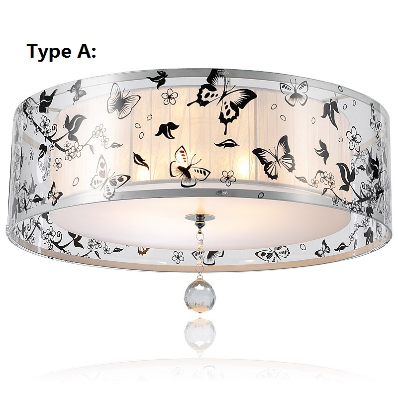 Modern Butterfly K9 Crystal Ceiling Lights Acrylic Lampshade Lustres De Sala Bedroom Head Ceiling Light E27 Home Lamp 110V 220V modern crystal lustres pendant lamp gold lampshade light fixtures for restaurant hanglamp e27 home decor bedroom 110v 220v avize