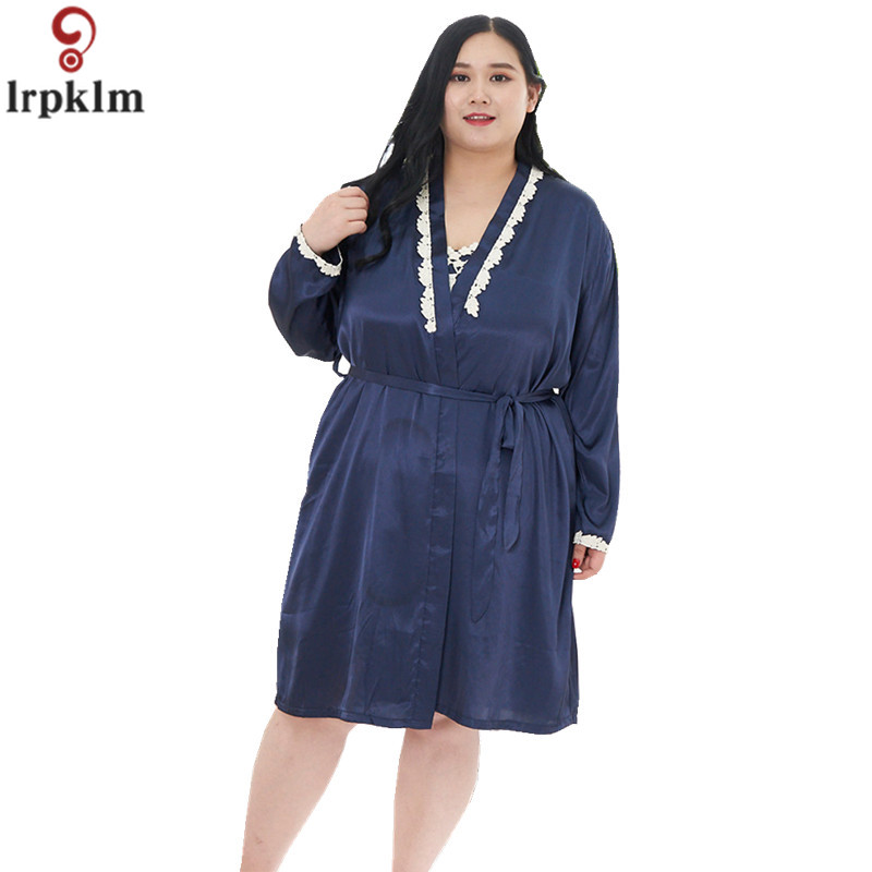 2018 New Summer Plus Size Ladies Set Lace Sling Nightdress + Sexy Comfortable Nightgown Fat MM Plus Size Pajamas Home Wear JW172
