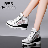 Spring And Summer Woman Sandals Platform High Heeled Shoes Breathable Mesh Carrefour Female Women Genuine Leather