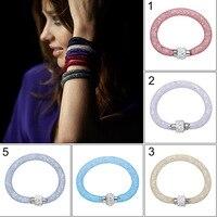 2016 Hot pulseira couro fashion Mesh Chain Bracelet Crystal Filled Charm Bracelets Bangles  bracelets for women Bijoux