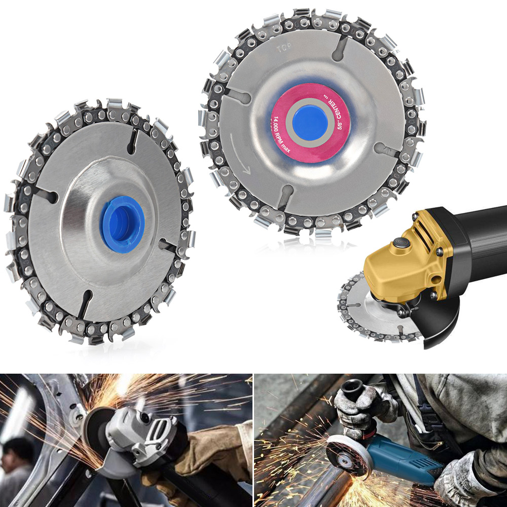 Wood Carving Disk 5 In Grinder Disc Chain Woodworking Saw Blade Cutting Blade Wood Slotted Saw Blade For Angle Grinder