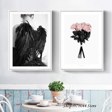 Nordic Poster Black Wings Beauty Wall Art Pink Flower Canvas Painting Posters And Prints Pictures Unframed