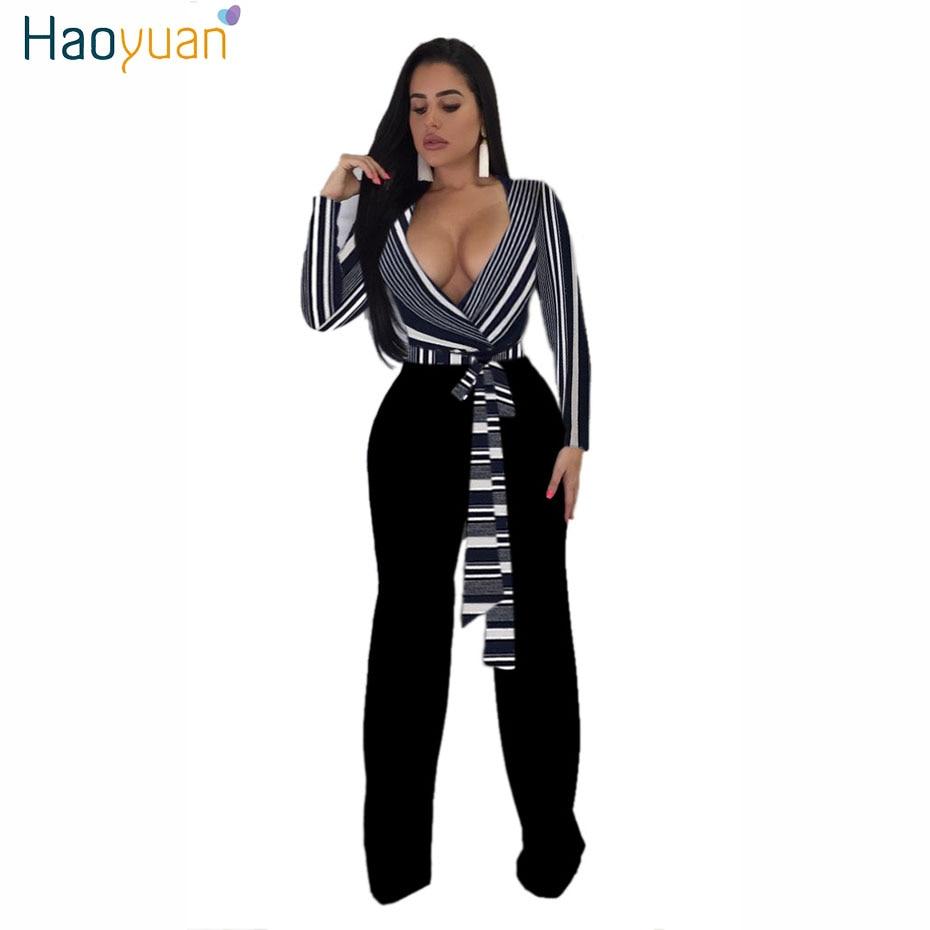 fd2c3b19e8d HAOYUAN Sexy Deep-V Long Sleeve Jumpsuit Autumn Stripe Bandage ...