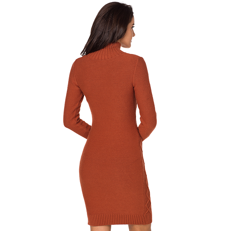 Tricoté Roulé Manches Chandail Mince Femmes marron ivoire Automne Robes Solide Lady Robe Col Hiver À Deodar Longues Noir Sexy Moulante wtYqFIvn88