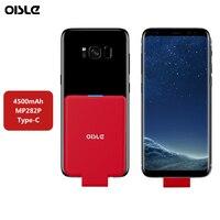 OISLE 4500mAh Typ C Batterie Ladegerät Fall Externe USB C Power Bank Mini Lade Fall Für Samsung S8 S9 Plus hinweis 8 / Nexus 6P-in Ladegerät-Gehäuse aus Handys & Telekommunikation bei