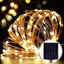 BTgeuse 10M 100LEDs Solar Fairy Lights Waterproof Garland Copper Wire Lamps Garden Patio Christmas Wedding Decoration