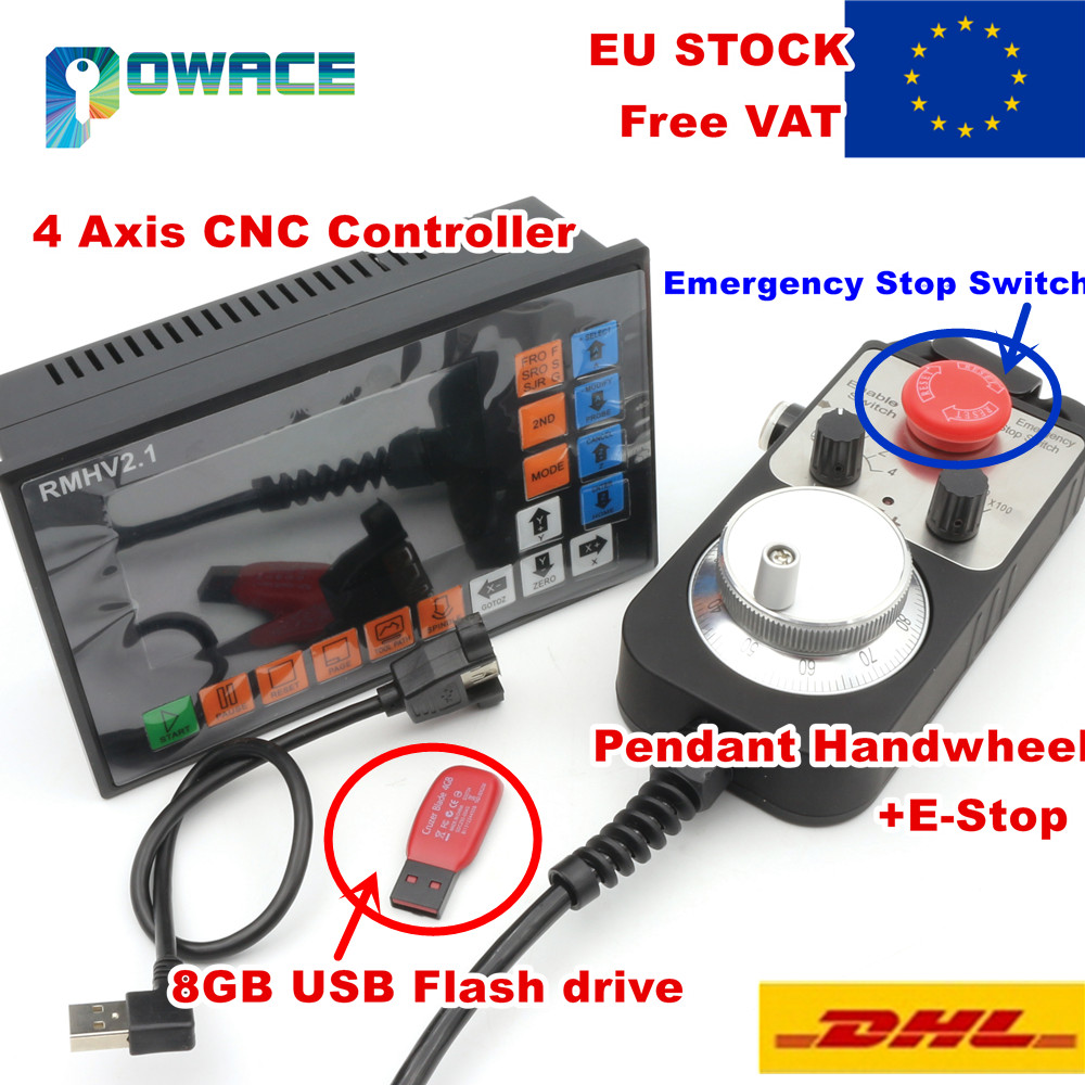 [EU STOCK] 4 Axis 500KHz PLC Controller Offline&100 Pulse MPG Handwheel &Emergency Stop for CNC Router Engraving Milling Machine