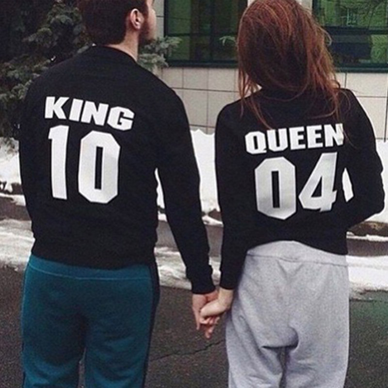 1PC Men/Women Hoodies Casual Personalized King10 Queen04  Letter Printed Cotton Round Neck Long-sleeved Hoodie Lovers