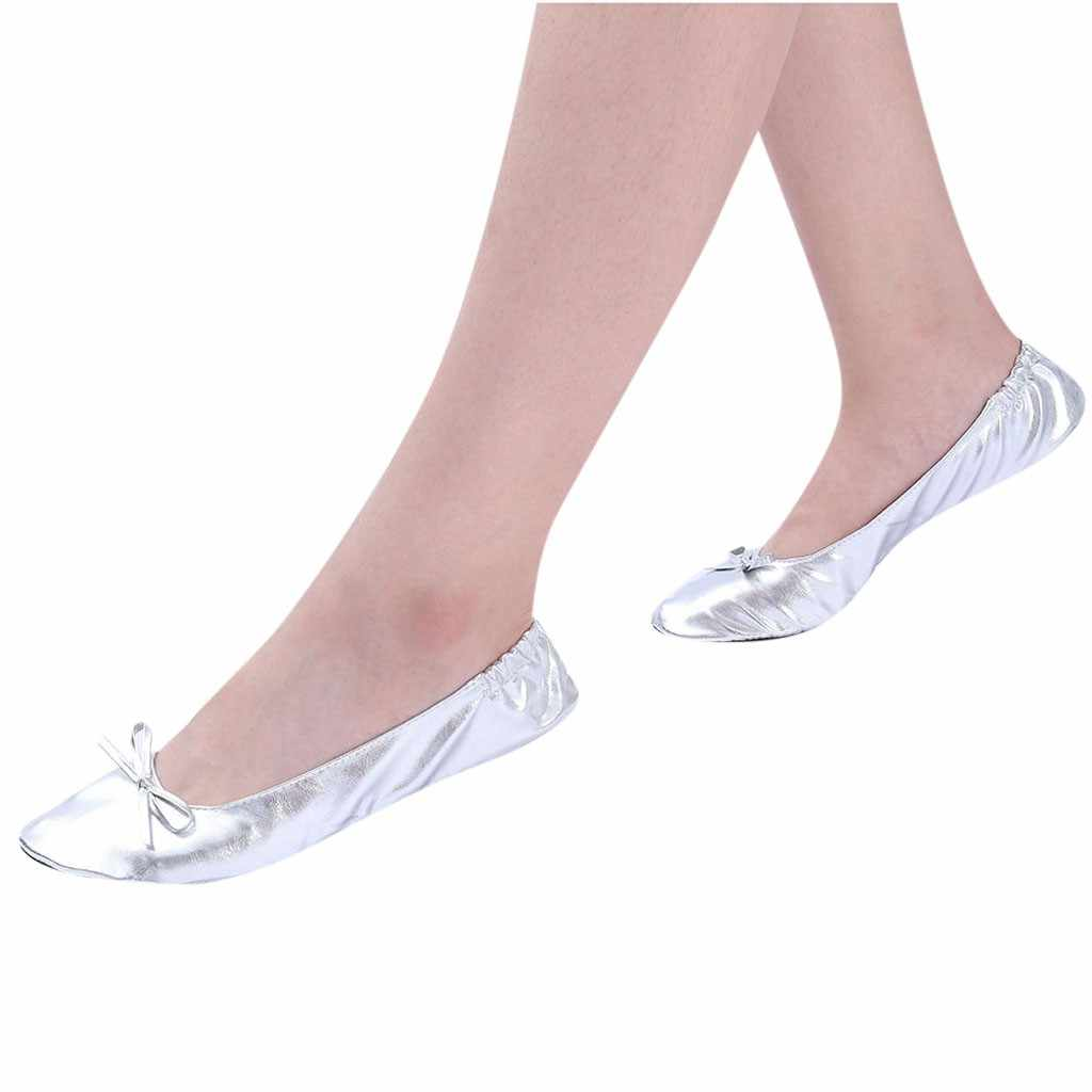Foldable slippers portable travel ballet flat Women's shoes ladies summer casual slippers female dance party shoes zapatos mujer
