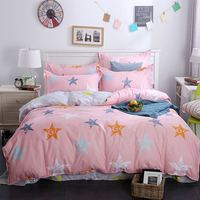 Aliexpress Top Recommend Washing Cotton Stars Pink Bedding Sets Duvet Cover Queen Size 1 Quilt Cover