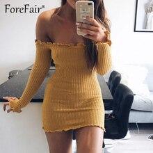 Forefair Sexy оболочка Bodycon платье для Для женщин осень 2017 г. с длинным рукавом с плеча без бретелек оборками Мини Платья для вечеринок