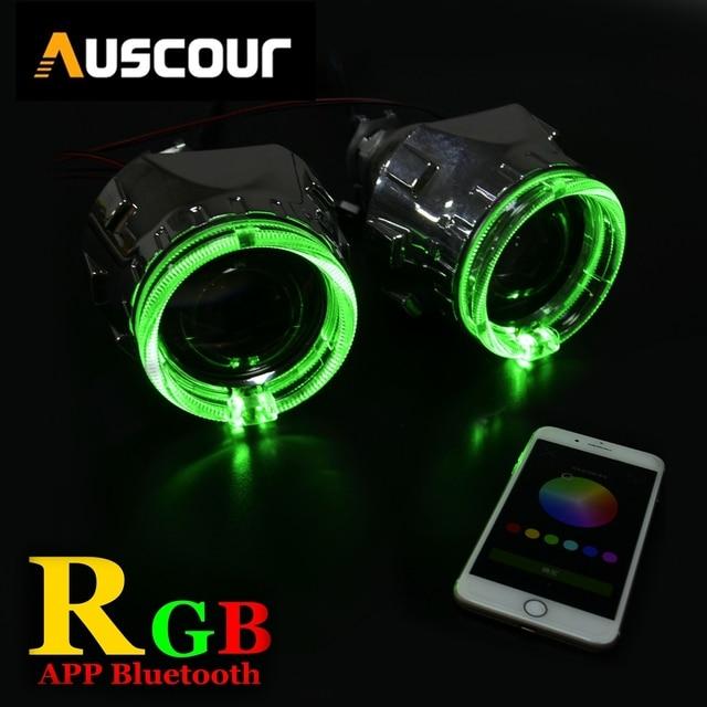 2.5 de polegada carro xenon Bi escondeu lente Do Projetor com RGB função app Bluetooth anjo olhos máscara de lâmpada do bulbo do carro montagem kit Para H1 H4 H7