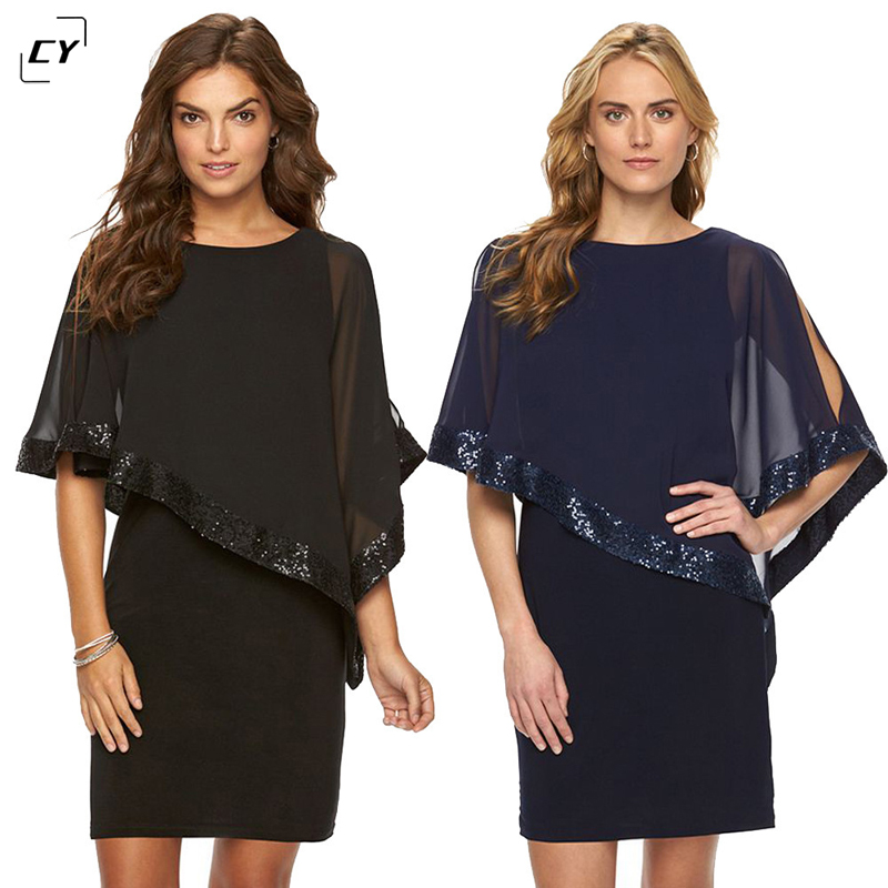 Buy Cheap Mesh Patchwork Sexy Mini Dress 2017 Women Cloak Sleeve Round Neck Irregular Party Dresses Sequins Clubwear Vestidos Dress Sexy
